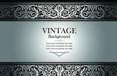 Vintage Dark Silver Floral Pattern Background Vector 01