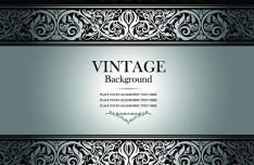 Vintage Dark Silver Floral Pattern Background Vector 01