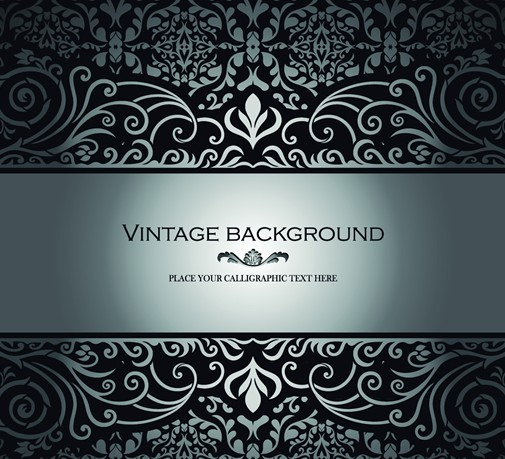Vintage Dark Silver Floral Pattern Background Vector 03