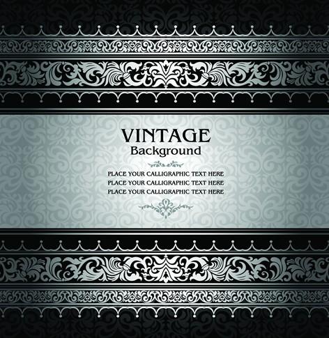 Vintage Dark Silver Floral Pattern Background Vector 04