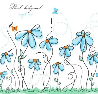 Clean Hand-painted Floral Background Vector 01