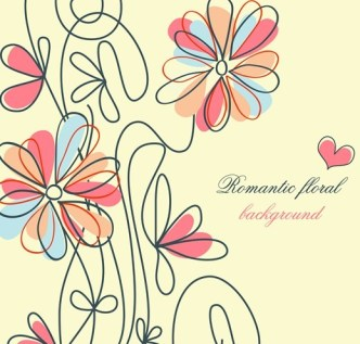 Clean Hand-painted Floral Background Vector 05