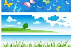 Simple Horizontal Summer Holiday Banners Vector 01