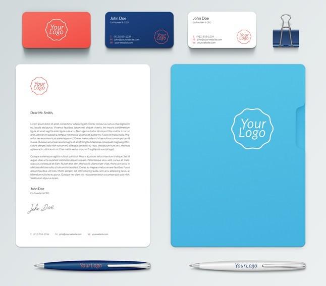 Branding Elements PSD Mockup