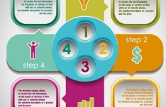 Fashion Colorful Labels with Numbers For Infographic 05