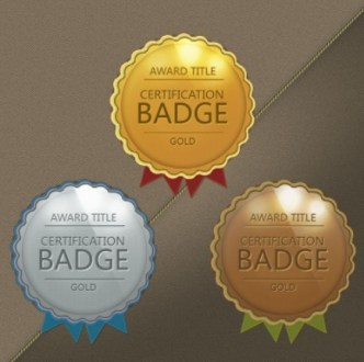 Vector Glossy Award Badges with Ribbons