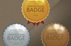 Vector Glossy Award Badges with Ribbons