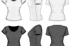 Dark and White Women T-Shirt Vector Mockup