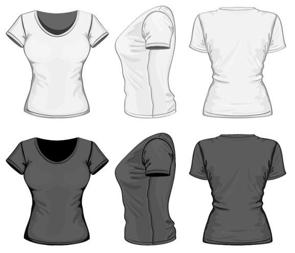 Dark and White Women T-Shirt Vector Mockup