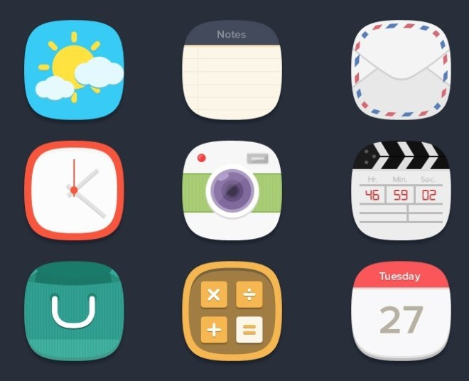 Rounded Flat Style App Icons