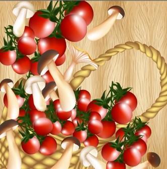 Delicious Tomato Text Background Vector 03