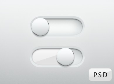 Free Glossy White Switch Sliders PSD - TitanUI