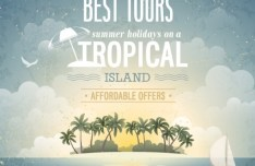Retro Vector Background For Summer Holiday On A Tropical Island