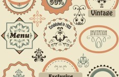 Vector Vintage Pattern Decoration Stickers