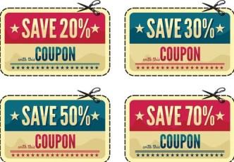 Vintage Coupon & Discount Labels Vector