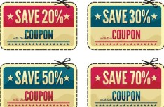Vintage Coupon & Discount Labels Vector