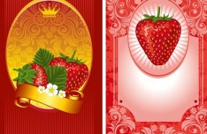 Fresh Vector Strawberry labels 01