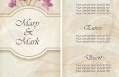 Vector Elegant Pink Flowers with Parchment Background 04