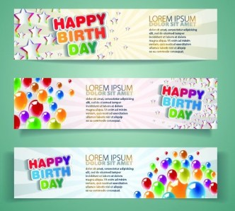Vector Happy Birth Day Banners