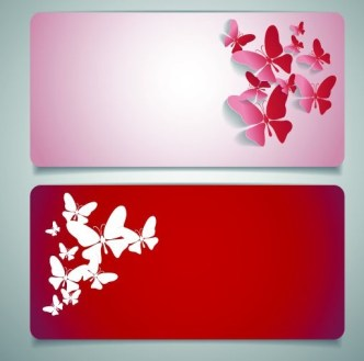 Vector Sleek Banners with Butterfly Background 02