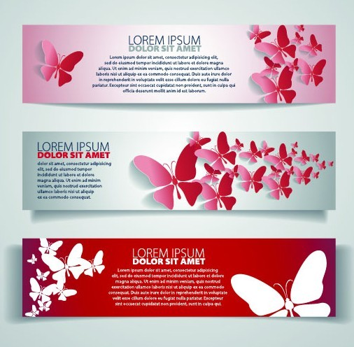 Vector Sleek Banners with Butterfly Background 03