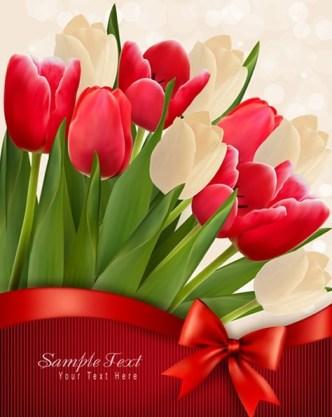 Beautiful Tulip Card Cover Design Template Vector 01