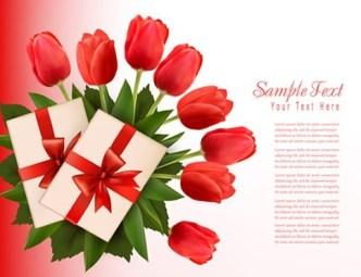 Beautiful Tulip Card Cover Design Template Vector 03