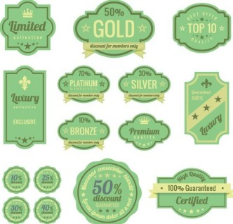 Flat Green Promotional Labels Vector