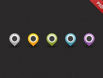 Map Pins Icons PSD