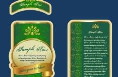 Set Of Green Gold Labels Vector