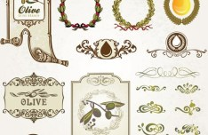 Vintage Vetor Olive Oil Design Elements