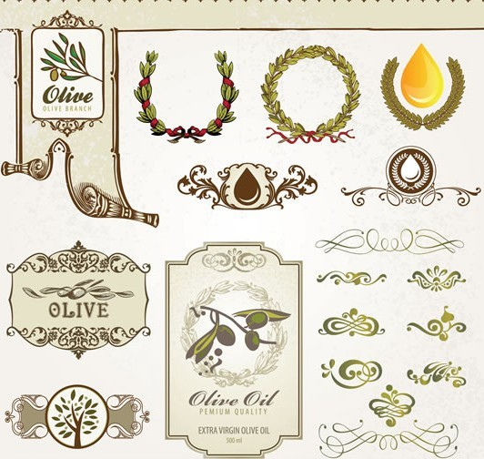 Vintage Vetor Olive Oil Design Elements