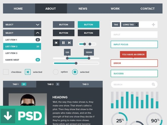Dark and Green Flat Style Web UI Kit PSD