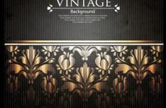 Vintage Golden Floral Pattern Vector Background 05