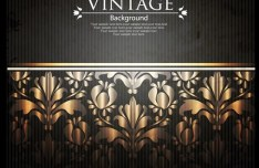 Vintage Golden Floral Pattern Vector Background 05