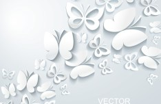 3D White Butterfly Background Vector 01
