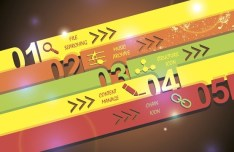 Colored Paper Banners with Numbers Vector 01