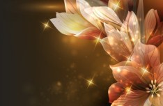 Elegant Card Background With Sparkling Flowers 01