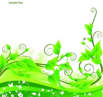 Fresh Green Floral Background Vector 04