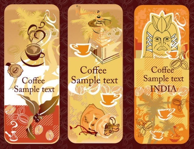 Set Of Vintage Rounded Coffee Banners Vector 01