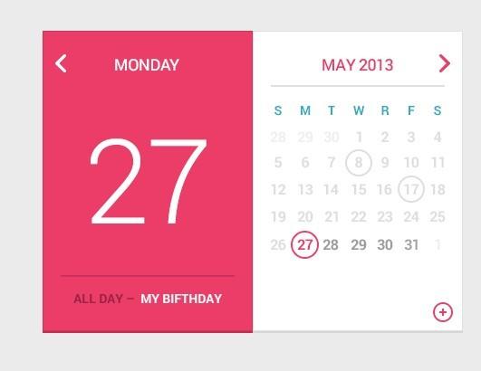 Calendar Web Widget : Free pink and white flat calendar widget psd titanui