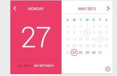 Pink and White Flat Calendar Widget PSD