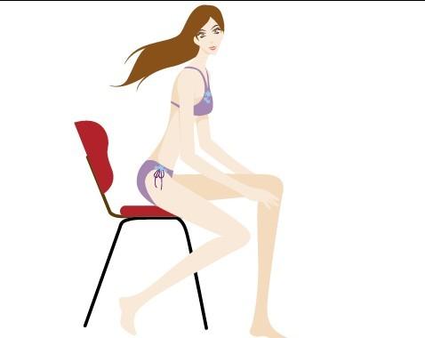 Bikini Girl Sitting On A Chair