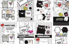 Cute Black and White Cartoon Piggies Vector
