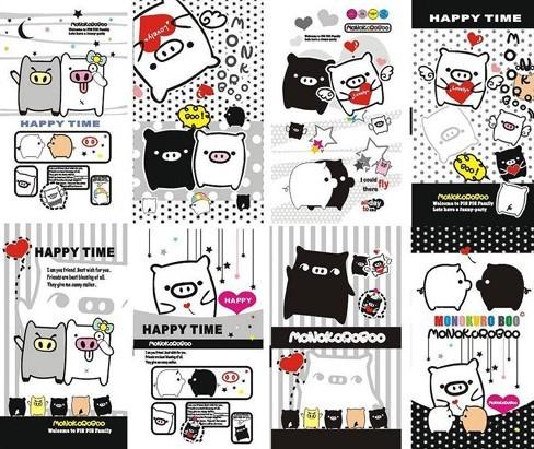 Cute Black and White Cartoon Piggies Vector