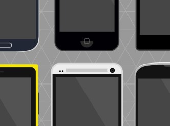 Flat Mobile Devices PSD Mockup