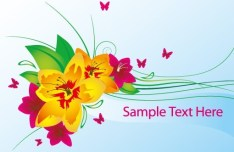 Vector Spring Flowers and Butterflies Illustration 01