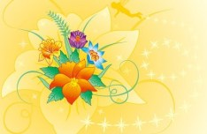 Vector Spring Flowers and Butterflies Illustration 02