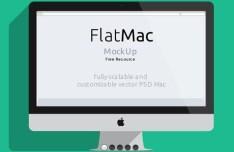 Flat iMac & Macbook PSD Mockup