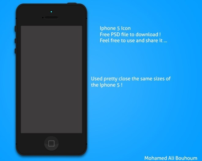Flat Black iPhone 5 PSD Mockup